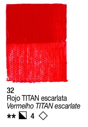 Venta pintura online: Acrílico Rojo Titan escarlata  nº32 serie 4