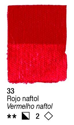 Venta pintura online: Acrílico Rojo Naftol nº33 serie 2
