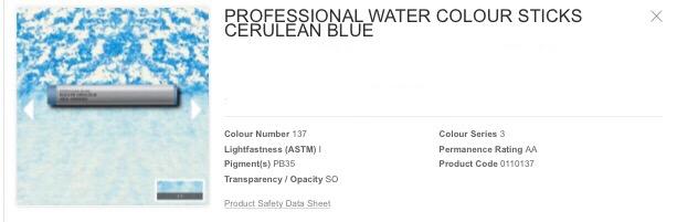 Venta pintura online: barra acuarela azul cerúleo S.3