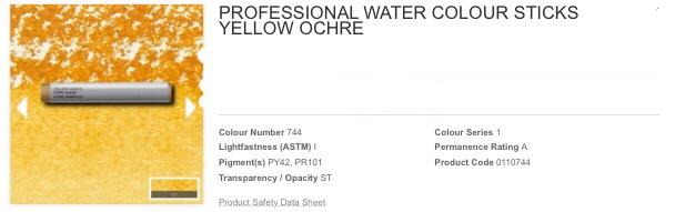 Venta pintura online: Barra acuarela ocre amarillo S.1