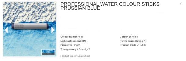 Venta pintura online: Barra acuarela azul prusia S.1